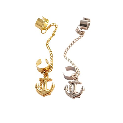 Sorella'z® Anchor Tassels Clip on Stud Silver & Golden Earrings Earcuff Combo...