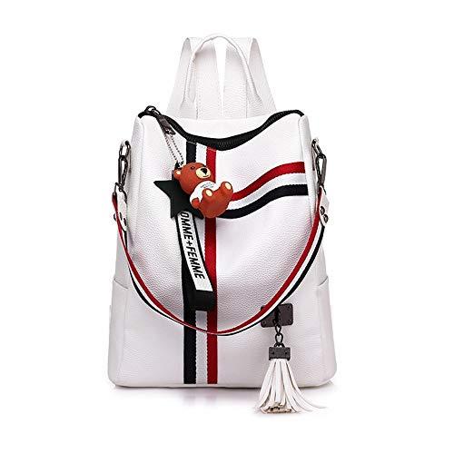 Damenrucksack, lässige Reise Mode Rucksack, Soft-Griff Handtasche, College-Stil, weiß -