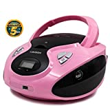 Lauson Radio y Reproductor de CD Portátil con USB | Radio Am/FM | USB y Mp3 | CD Player con Salida para Auriculares 3.5mm | CP638 (Rosa)