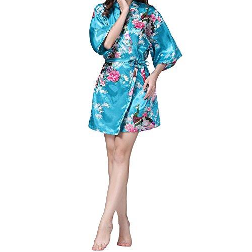 VILLAVIVI Vestido Párrafo Corto Mujer Kimono Pavo Flores Satén Albornoces Pijamas  Nota:   Cien por ciento de tiroteo en especie.  Porque debido a los efectos luminosos, ajustes de brillo / contraste del monitor, etc, podría haber algunas pequeñas di...