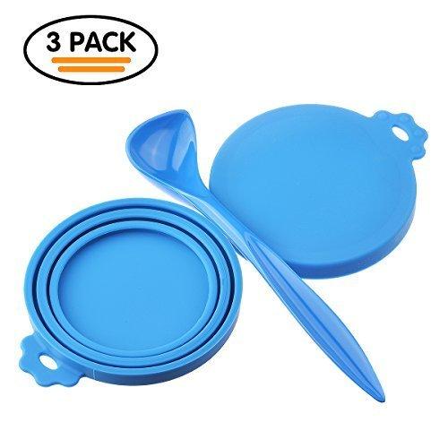 RoyalCare Universal Deckel für Futterdosen, Hunde- und Katzenfutter, BPA frei, aus lebensmittelechtem Silikonfrei, Spülmaschinenfest, für alle drei Standardgrößen. Mit praktischem Entnahmelöff