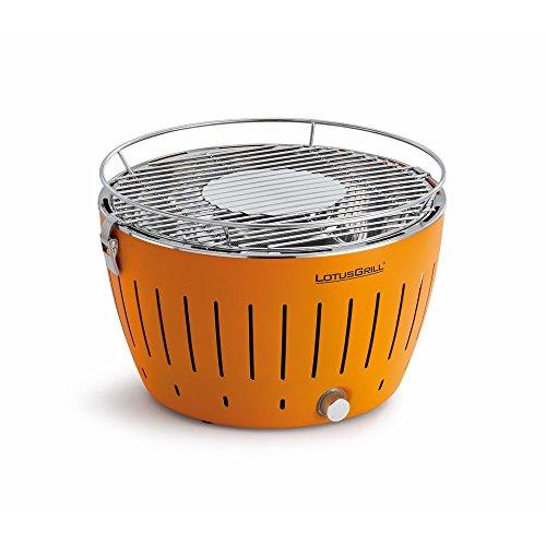 Lotusgrill Grill mit Ventilator, schnell aufheizend, rauchfrei, Orangefarben