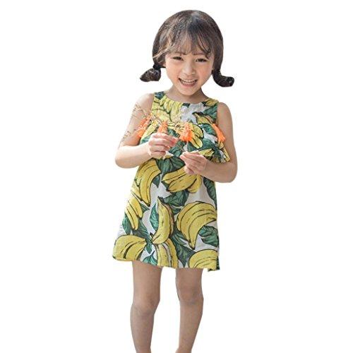 Mädchen Kleid Sommer, Bekleidung Longra Kinder Baby Mädchen Banane Quaste Prinzessin Kleid ärmellosen Sundress Outfits Kleidung(2-6Jahre) (90CM 2Jahre, multicolor)