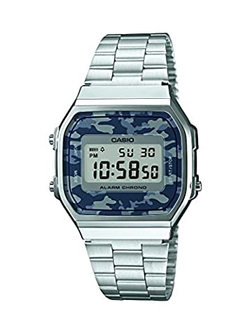 Casio Collection - Unisex-Armbanduhr mit Digital-Display und Edelstahlarmband - A168WEC-1EF - Oro Grigio Dial