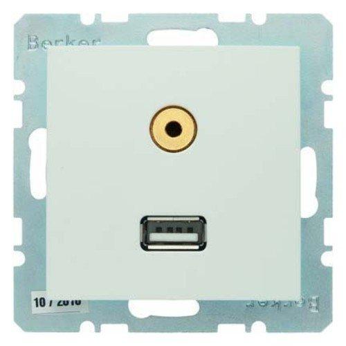 Berker Steckdose USB/3,5mm Audio 3315398989 polarweiß glänzend B.1;B.3;B.7;S.1 Einsatz/Abdeckung für Kommunikationstechnik 4011334341611 S1 Audio