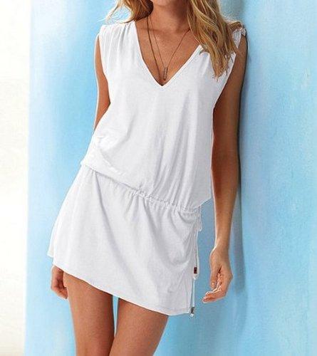 Aolevia Damen Deep V Strandkleid Sommer Kleid Beach Kleid 9 Färben Auswählbar DE32-38 Weiß