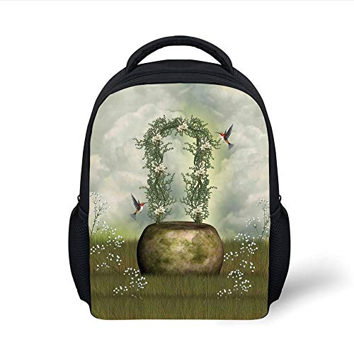 Kids School Backpack Hummingbirds Decorations,Fairytale Scene with Flowers Stone and Hummingbird Wildflower Arch Cloudy Sky, Plain Bookbag Travel Daypack -