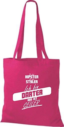Shirtstown Stoffbeutel du bist hipster du bist styler ich bin Darter das ist geiler pink