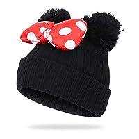 DUTISON Kids Winter Cute Pom Pom Ears Hat Warm Soft Beanie Hat Stretchy Knit Hat, 2-6Y - Black - One Size