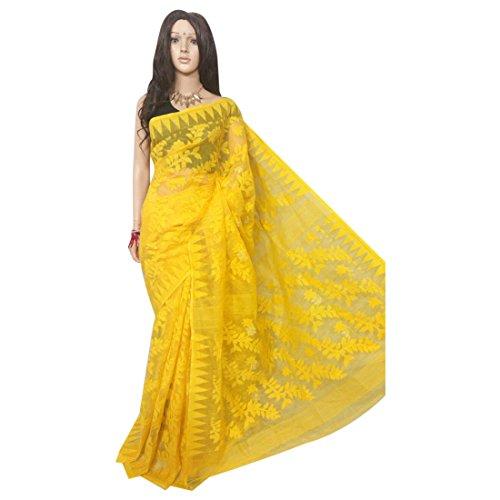ETHNIC EMPORIUM Damen Hochzeit Dhakai Jamdani Handloom Silk Saree Ethnic Indian Schöne Selbst Arbeit Traditionelle Sari Bengal Weavers 105 43481 Wie gezeigt -