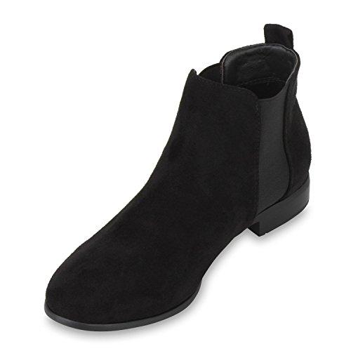 Stivaletti Da Donna Boot Paradise Stivaletti Chelsea Boots In Pelle Stile Booties London Outsize Gr 36-42 Block Tacco Scarpe Flandell Black