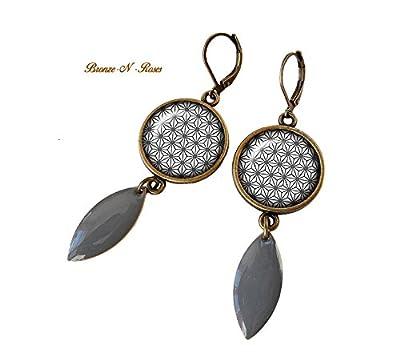 """boucles d'oreilles cabochon"""" papier japonais gris"""" bronze pendantes fantaisie tendance losange cadeau"""