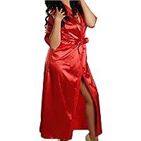Luckycat Lencería Erotica de Mujer, Mujeres Sexy Ropa de Dormir Bata de baño Larga Camisón Perspectiva de Encaje de lencería Hueca Traje Bata de Satén Lencería Tentación Camisones Albornoz Camisón