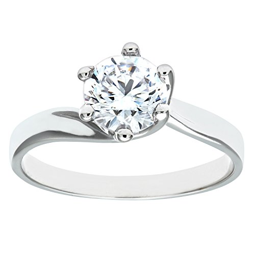 Citerna 9ct White Gold Stone Set Solitaire Ring - Size N
