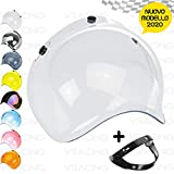 VRacing Visiera Casco 3 Bottoni Universale Casco jet e integrale Visiere Bubble a Bolla Custom retrò con meccanismo 3 altezze regolabile flip up incluso (Trasparente)