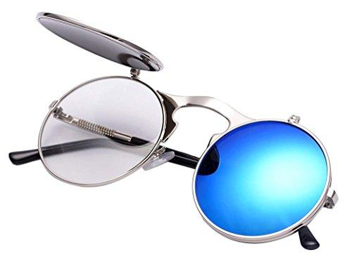 Runde Steampunk Polarisierte Sonnenbrille Metall Rand Rahmen Flip up Linse für Herren Damen UV400 (A/Silber/Blau, Nicht polarisiert)