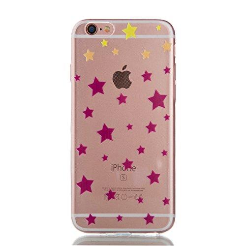 iPhone 6S Hülle,iPhone 6 Case - Felfy Ultra Slim Weicher Gel Flexible TPU Transparent Case Schutzhülle Silikon Ultradünne Hülle Retro Farbe Blumen-Totems Tupfen Gitter Muster Schutz Scratch-Resistant  Stern