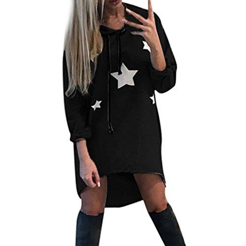 eid, SHOBDW Frauen Pentagram gedruckt Kleid Damen Hoodies Sterne gedruckt Minikleid (Schwarz, XL) (Weihnachts-kleidung Für Frauen)