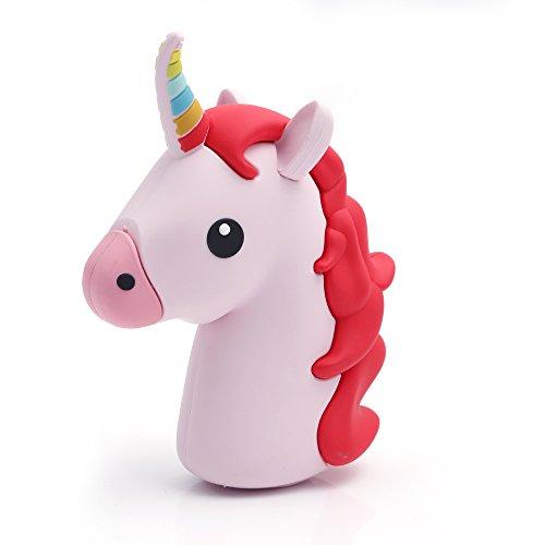 iprotect Emoji-Powerbank 2000mAh Externes Ladegerät im Unicorn-Emoji-Design in Rot für Smartphones und andere Geräte mit USB-Anschluss - inklusive Micro USB-Ladekabel