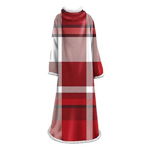 ADM6 Wearable-Decke mit Ärmeln, kuschelig weicher Fleece-Plüsch-Wrap Wirft Decke Weihnachten Lattice Robe für Frauen und Männer 70