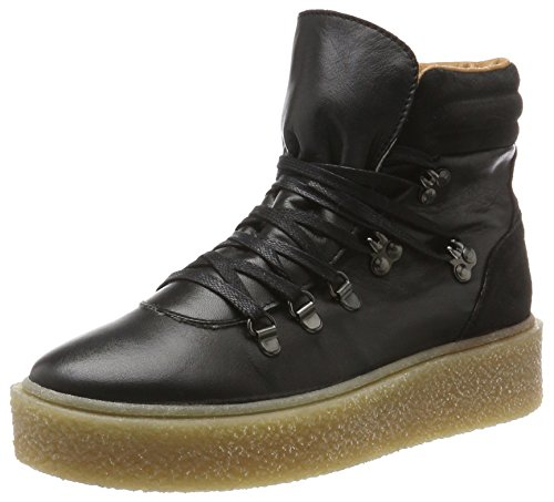 Bianco Damen Warme Plattform Boots Combat, Schwarz (Black), 37 EU (Black Leder-plattform)