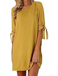 96124ab97e3e0 Kidsform Robe Femme Chic Manches Courtes Tunique Eté Mini Robe de Plage  Chemise Longue