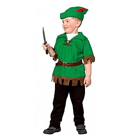 Kostüm Robin Hood Junior Gr. 98/104 Oberteil Mütze Kinderfasching Wald Natur
