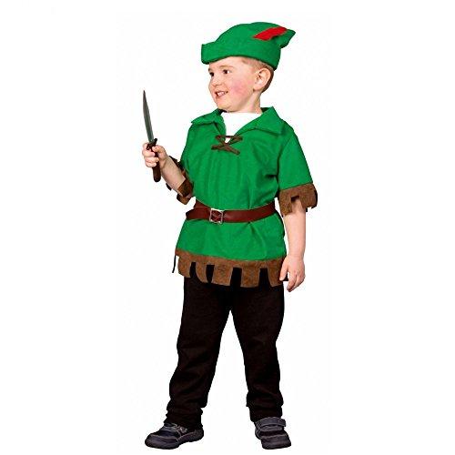 (Kostüm Robin Hood Junior Gr. 98/104 Oberteil Mütze Kinderfasching Wald Natur)