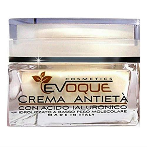Evoque Cosmetics Crema Antirughe Donna- Acido Ialuronico puro 100%-Crema Idratante Viso-Giorno e Notte Viso Collo Decollètè 100%Naturale Made in Italy