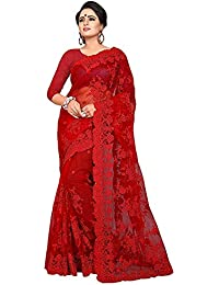 Enchanting Women's Net Heavy embroidery work Saree With Blouse (Red # Free Size) (Sarees+DarshitaRed-15)