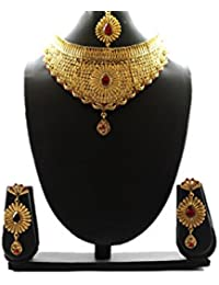 Halltree Fashion Jewellery Gold Plated Combo Of Two Traditional Necklace Set For Women Party Wear And Wedding...