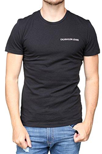 Calvin klein jeans t-shirt uomo institutional logo chest tee j30j307852 m nero