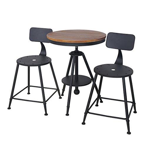 HLC-conjunto de sillas y mesa para jardín,de metal--Negro, ideal para interior bar,balcón, Café, Bistro, Patio, lugares al aire libre 22