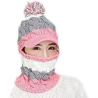 Bloomma Womens Winter Warm Snow Ski Slouchy Beanie Tejido de Punto y Bufanda con Polar