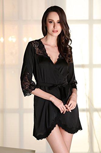 Lomon Nachtwäsche Damen Morgenmantel Kimono Robe Satin Kurze Bademantel Mit Spitze Für Frauen Schwarz