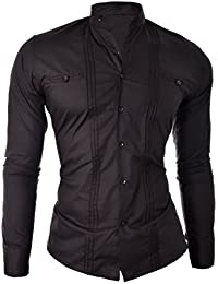 D&R Fashion Men's Elegant Shirt Slim Fit with Band Collar White Black Cotton