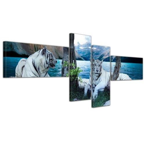 Wandbild - Tiger II - Bild auf Leinwand 200x80 cm 4 teilig - Leinwandbilder Bilder als Leinwanddruck Tierbild Wildtiere - Grosskatzen - Zwei weiße Tiger