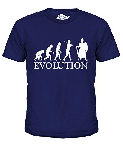 CandyMix Ritter Kreuzzug Evolution Des Menschen Unisex Jungen Mädchen T Shirt, Größe 12 Jahre, Farbe Navy Blau