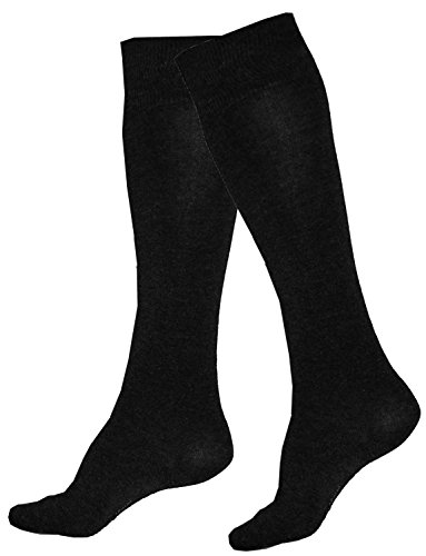 Damen Kniestrümpfe 4 Paar Stretch Baumwolle One Size 36-42 Schwarz