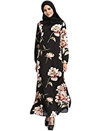 56998cee799 Hzjundasi Malaysia Bohemia Style Kaftan Flowers Chiffon Maxi Dress Long  Sleeve Abaya Islamic Evening Gown Muslim