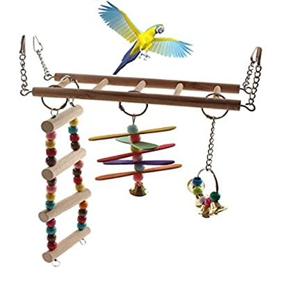 emours Natural Wood Bird Ladder Small Animal Swing Cage Activity Toys with Hanging Bell 1