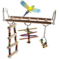 Emours - Jaula de madera natural para pájaros con campana para colgar