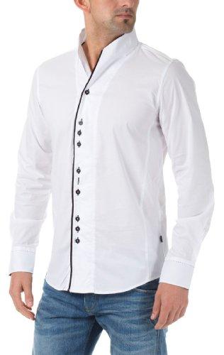 Carisma Herren Langarm Hemden Stehkragenhemd Weiß
