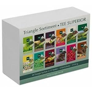 TEE SUPERIOR Set mit 48 Triangle Sachets – Tee Geschenkset / Tee Probierset, 142 g