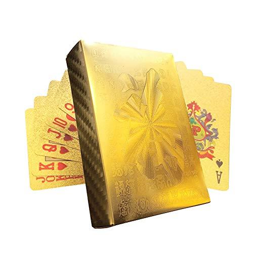 ChYoung Gold Poker Sets Kartenspiele Luxus Goldfolie Spielkarte mit Aufbewahrungsbox Umweltfreundliches Material