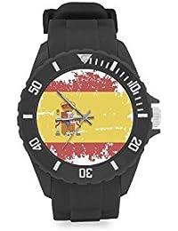 Reloj de pulsera de diseño vintage con bandera de España roja y amarilla, correa de