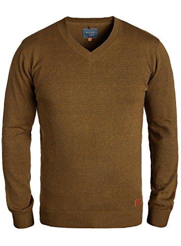 Blend Lasse Herren Strickpullover Feinstrick Pullover Mit V-Ausschnitt Und Melierung, Größe:M, Farbe:Dark Mustard (75116) (V-pullover De)
