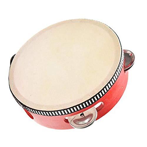 Holz-Hand Tambourine Cartoon Handbell-Cartoon-Tier Bunte Biene Handbell Tambourine Clap Drum Kinder Spielzeug Red