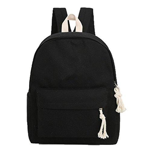OHmais Unisexe Sac à dos de randonnée Sac de cours Cartable à style sac de lycée en toile Idéal pour les jeune éudients