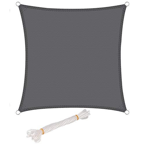 WOLTU Sonnensegel Quadrat 2x2m Grau wasserabweisend Sonnenschutz Polyester Windschutz mit UV Schutz für Garten Terrasse Camping